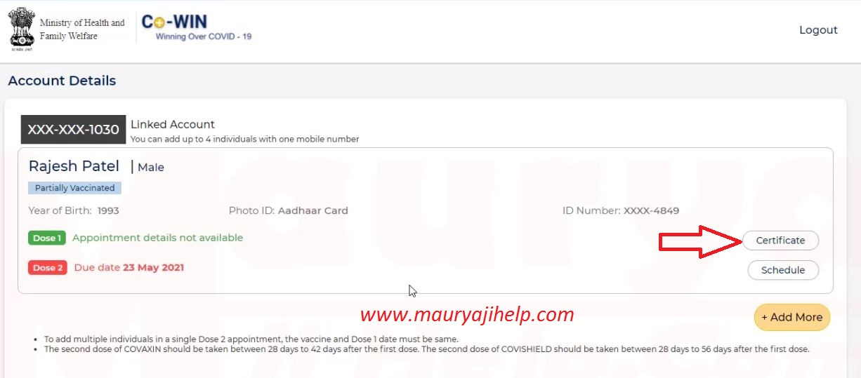 covid 19 vaccine certificate download with mobile number